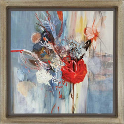 """Paragon Decor - Floral Life Artwork - Brighten up those boring walls with this pretty piece, """"Floral Life."""" The piece features a soft abstract depiction of a bouquet of flowers composed of bright crimson reds and salmon shades of orange contrasting with a gray and blue background. It is unmatted and placed in a simple frame. This piece measures 41 inches wide, 2 inches deep, and 41 inches high."""