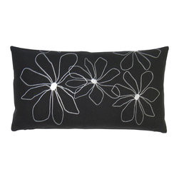 k studio - Hawaii Rectangular Pillow - Black with White Stitch - Designed by Shelly KleinPart of the k studio Hawaii Pillow Collection. Materials: Black hemp/cotton with white stitch. Feather/down insert. Zipper closure. Made in the USA. Care: Hand wash cold water, dry flat.