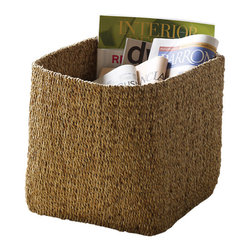 "Design Ideas - Water Hyacinth Basket, Set of 2 - Hand woven from sustainably harvested water hyacinth reeds that clog the rivers and waterways of Thailand unless culled and dried into long sturdy strands. After weaving a ""mat"" of the material it is folded and formed into baskets. The hue will age to a more golden brown over time."