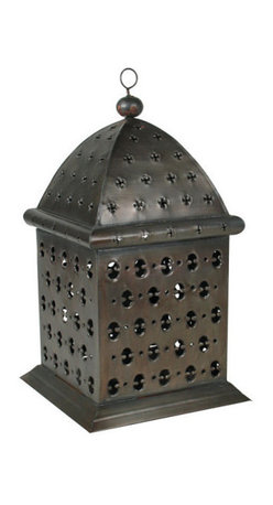 Mexican Artisans - Punched Tin Moroccan Lantern - Give your home a candlelit Moroccan touch. This hand-crafted tin lantern, inspired by Moorish architecture, features a punched pattern to cast an enchanting glow on your decor, indoors or out.