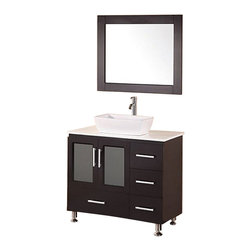 """Design Element - Design Element Stanton Espresso Single Vessel Sink Vanity Set - 36"""" - The Stanton 36"""" Vanity is elegantly constructed of solid hardwood. The white composite stone counter top and rectangular vessel sink design bring a crisp and contemporary look to any bathroom. The designer vessel sinks soft corners beautifully contrast with the rich features of the espresso cabinetry. This stylish design includes four drawers and soft closing double door cabinet all adorned with satin nickel hardware. Included is an espresso framed mirror. The Stanton Bathroom Vanity is designed as a center piece to awe-inspire the eye without sacrificing quality, functionality or durability."""