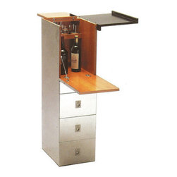 Standing Desk Bar Cabinet - Designed for work and play, this stealthy bar table is the critical piece to add to your office to complete the Mad Men look. Can you really have a storage cabinet without a bar stashed on top?