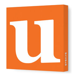 """Avalisa - Letter - Lower Case 'u' Stretched Wall Art, 12"""" x 12"""", Pumpkin - Spell it out loud. These lowercase letters on stretched canvas would look wonderful in a nursery touting your little one's name, but don't stop there; they could work most anywhere in the home you'd like to add some playful text to the walls. Mix and match colors for a truly fun feel or stick to one color for a more uniform look."""
