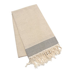 "Abanja - Etan Fouta Towel - Traditional Moroccan design defines the oversized Etan Fouta towel. Finished with classic stripes and fringed edges, this brown accessory delivers a rich waffle weave texture. 39""W x 79""H; 100% waffle weave cotton; Black and linen brown"
