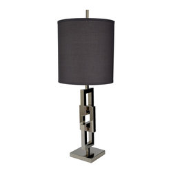 Lazy Susan - Chain Link Table Lamp with Gray Shade - Chain Link Table Lamp with Gray Shade