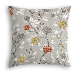 Gray Sketched Floral Custom Euro Sham - The secret to those perfectly made beds you eye in magazines? Euro shams. Complete your bed set with a set of Simple Euro Shams for a look that's as stylish as it is snuggly.  We love it in this contemporary sketched floral in light gray with pops of yellow and red.  So gorgeous it will be modern today, a classic tomorrow.