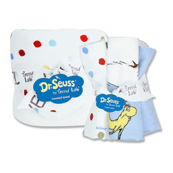 "Trend Lab - Bouquet Set - Dr. Seuss One Fish Two Fish - Hooded Towel & Wash Cloth - Make bath time fun with Trend Lab's Dr. Seuss One fish two fish Hooded Towel and Wash Cloth Set. Set features a white terry hooded towel with printed cotton percale throughout the hood and trim and five wash cloths each with fun, modern printed cotton percale on the front and terry on the back. Hood and trim of towel and two wash cloths feature a dot print in avocado green, barn red, sunshine yellow, cornflower blue and powder blue. Remaining wash cloth patterns include: one stripe print in avocado green, barn red, sunshine yellow, cornflower blue and powder blue, one wave print featuring Dr. Seuss' famous fish and sayings in the same avocado, red, yellow and two shades of blue and one two-toned blue bubble letter print reading One fish two fish red fish blue fish. Hooded towel measures 32"" x 30"" and each wash cloth measures 8"" x 8"". Product sold under license from Dr. Seuss Enterprises, L.P."