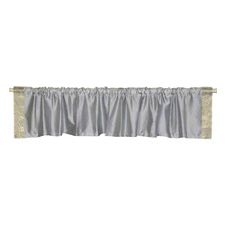 Indian Selections - Pair of Gray Rod Pocket Top It Off Handmade Sari Valance, 80 X 20 In. - Size of each Valance: 80 Inches wide X 20 Inches drop. Sizing Note: The valance has a seam in the middle to allow for the wider length