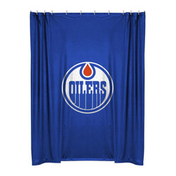 Sports Coverage - NHL Edmonton Oilers Shower Curtain Hockey Bath Accessory - FEATURES:
