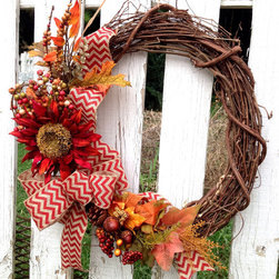 Fall Wreath, Red Sunflowe by Wreath Unique - Still obsessed with chevron? Get your fix for fall in this wreath.