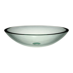 Decolav - Decolav Transparent Natural Vessel - DECOLAV's Translucence Oval 19mm Glass Vessel is sleek and contemporary. It is available in a transparent or frosted finish. These 19mm tempered glass lavatories make an unforgettable statement with their strong horizontal lines and superb workmanship.