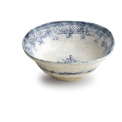 Arte Italica - Burano Pasta/Cereal Bowl - Whether you prefer porridge or granola, you'll enjoy it more when its in this charming Italian-made cereal bowl in warm white with a lace-like navy design. Part of the Burano collection, named for an island off Venice famed for its embroidered lace, the bowl is hand created, featuring uneven edges that give it a distinctly vintage look.