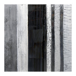 Modern Grey - This bold and modern piece is made up of rich grays and blacks and is accented with silver and high gloss touches. Hand-painted on gallery-wrapped canvas.