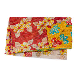 Vintage Hand-Stitched Kantha Throw 5052 - This vibrant and colorful throw is hand-quilted in a reversible design from vintage reclaimed Indian sari textiles. Whether you use it over your bed, sofa, or armchair, it will certainly be a statement piece and breathe light and energy into your space.