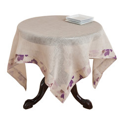 None - Natural Voile Printed Linen Table Topper - Styled with subtle floral edging,this delicate topper will add the finishing touch to any table. This natural linen topper is finished with soft lavender and white tones.