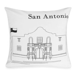 """Rjs Trading Int'l Ltd Dba - Passport 18"""" Square Postcard Toss Pillow - San Antonio - Add to the world tour of the Passport bedding with this decorative toss pillow featuring black stitch embroidery on a white background. The postcard motif with an iconic landmark makes you wish you were there."""