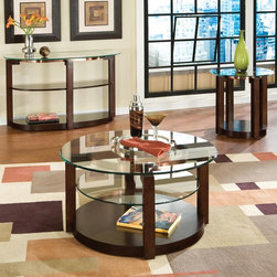 Standard Furniture - Standard Furniture Coronado 3 Piece Coffee Table Set in Cherry - Coronado is inspired by contemporary designs and offers unique and functional pieces making it the perfect addition to today's modern lifestyle. Quality veneers over wood products and select solids used throughout. Group may contain some plastic parts. Cherry color finish. Surfaces clean easily with a soft cloth. - 24600-3-SET.  Product features: Belongs to Coronado Collection ; Cherry finish ; Quality veneers over wood products and select solids used throughout ; Group may contain some plastic parts ; Surfaces clean easily with a soft cloth ; Beveled glass tops illustrate an appealing yet traditional design element and are easy to clean ; The tables offer recessed shelving allowing extra space for display items ; Mimicked design elements create a cohesive appeal to help carry the beautiful design throughout the entire room ; Rounded design allows Coronado to fit in a variety of places. Product includes: Cocktail Table (1) ; End Table (1) ; Sofa Table (1). 3 Piece Coffee Table Set in Cherry belongs to Coronado Collection by Standard Furniture.