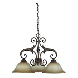 Jeremiah Lighting - Jeremiah Lighting 25533  3 Light Down Chandelier - Jeremiah Lighting 25533 Ferentino Down Chandelier The Ferentino is an old world look that incorporates the use of the classic lily design element throughout the entire family of Lights. This collections is finished in a Burleson Bronze which is a blended bronze overlay with accent tones of copper, gold, and red clay. The chandelier and Wall Sconces models feature a authentic aged dripped candle sleeve and candelabra sockets. The down light units incorporate an aged glass diffuser with a hand brushed treatment to further authenticate the old world look for today's homes. This family truly makes a design statement for style conscious today's home owners. Features: