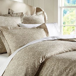 Sammie Tile Duvet Cover, Full/Queen, Brownstone - An antique tile motif is richly pigment printed on our supersoft Sammie bedding. Made of a cotton/linen blend. Duvet cover and sham reverse to self. Duvet cover has interior ties and a hidden button closure; sham has an envelope closure. Duvet cover, sham and insert sold separately. Machine wash. Imported.