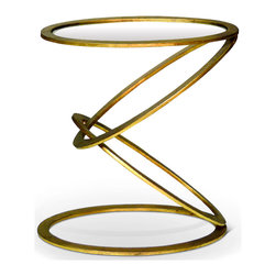 Kathy Kuo Home - Mobius Contemporary Gold Leaf End Side Table - You won't hide this end table in the corner of the room next to the couch. This unique table needs to be out where everyone can admire the carefully balanced antique gold rings and stylish mirrored top.