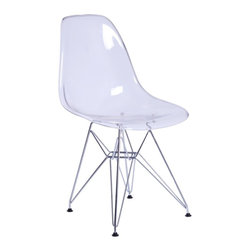 Lemoderno - Fine Mod Imports  GlossWire Dining Side Chair, Clear - The GlossWire Dining Chair is a truly comfortable chair, it has a high flexible back with good 'give' and a deep seat pocket supported by an elegant Wire Base. Transparent Acrylic    Assembly Required