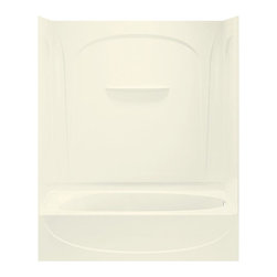 Sterling - Sterling Acclaim 71090116 60W x 72H in. Bathtub Shower Combo with Age in Place B - Shop for Tubs from Hayneedle.com! The arches and clean lines of the Sterling Acclaim 71090116 60W x 72H in. Bathtub Shower Combo with Age-in-place backers are a beautiful sight but it's the safety features that you'll really be grateful for. Factory-installed wood backers make it possible for future grab bar and seat installation which is a godsend for the elderly and impaired. Among the smooth arches the back wall also features molded shelving for soaps and shampoos. An expansive 15-inch apron rounds the tub providing you with a large deck area for storing even more toiletries. Quite simply the Acclaim is for those who enjoy style storage options and safety that allows them to enjoy a relaxing soak or a quick shower. The Sterling name has a reputation for superior craftsmanship at every level and the solid Vikrell construction of this unit is no exception. The compression-molded Vikrell is a Sterling exclusive that provides strength durability and a lasting beauty. Customize your purchase with an almond biscuit or white finish that's coated in a high-gloss that creates a smooth shiny surface which is easy to clean. This CSA-certified bathtub measures 60W x 30D x 72H inches and comes available with either a left-hand or right-hand drainage hole model depending on your home setup.Product Specifications:Overall Height: 72 inchesOverall Width: 60 inchesOverall Depth: 30 inchesHeight (Back Panel): 72 inchesWidth (Back Panel): 60 inchesThickness (Back Panel): 1 inchHeight (Side Panel): 72 inchesWidth (Side Panel): 30 inchesThickness (Side Panel): 1 inchBase Shape: Oval in rectangleInstallation Type: AlcoveNumber of Thresholds 1Drain Placement: Left or rightAbout SterlingEstablished in 1907 and quickly recognized as a leading manufacturer of faucets and brassware Sterling has been known for their diversity of products and industry-leading designs for over a century. In 1984 Sterl