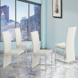 Homelegance - Homelegance Clarice Dining Side Chairs - Modern White - Set of 4 - 2447WS[4PC] - Shop for Dining Chairs from Hayneedle.com! Fans of an ultra contemporary aesthetic will adore this Homelegance Clarice Dining Side Chairs - Modern White - Set of 4. Each one is sturdily built from metal and PVC for lasting use and coordinates exquisitely with the Clarice Collection dining tables. Upholstered in smooth vinyl/faux leather material it boasts a glossy white finish for an impressively sleek modern look.About Homelegance Inc.Homelegance takes pride in offering only the highest quality home furnishings that incorporate innovative design at the best value. From dining sets to mirrors sofas and accessories Homelegance strives to provide customers with a wide breadth and depth of selection as well as the most complete and satisfying service available for their category. Homelegance distribution centers are conveniently located throughout the United States and Canada.