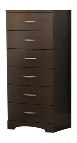 South Shore - South Shore Back Bay Single 6 Drawer Lingerie Chest in Chocolate Finish - South Shore - Chests - 3159066 - Infuse your bedroom with the grace and style of the Back Bay Single 6 Drawer Lingerie Chest. This chic lingerie chest blends straight minimalist lines and sleek metal handles with a rich Chocolate finish to bring sophisticated and contemporary appeal to your bedroom. Each drawer is fitted with Smart Glides that include dampers and stops for smooth safe opening and closing and easy access to all of your clothing and belongings. The kickplates offer a modern accent and are periodically interrupted by softly curving lines for a note of elegance. The simple metal handles stand out in contrast with the rich dark finish and enhance the collection?s smooth fresh look.Features: