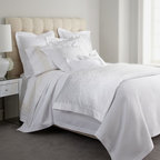 """SFERRA - SFERRA Full/Queen Scroll-Pattern Duvet Cover, 88"""" x 92"""" - Both simple and breathtaking, Sferra's """"White Jacquard"""" bed linens showcase a traditional jacquard-woven scroll pattern on sateen duvet covers and shams, all finished with hemstitch detail. Duvet covers are backed with solid 300-thread-count sateen. ...."""