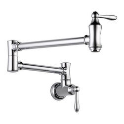 """Delta - Delta 1177LF Chrome Pot Filler Pot Filler Faucet Wall Mounted with - Product Features:  Designed to be installed adjacent to the stove top, such that pots can be filled while on a burner. Pot fillers are a notoriously classy touch to any well-planned kitchen 4 gallon-per-minute flow rate fills pots twice as fast as traditional kitchen faucets Timeless design combined with the latest technology Dual swing joints with approximately 24"""" extension Dual shut off valves Simple, elegant lines complement traditional decor Simple on and off with a quarter turn of the handle ADA compliant Low lead compliant - complies with federal and state regulations for lead content Extra secure mounting assembly All neccesary mounting hardware included  About Delta: Delta is more than just a brand of kitchen and bathroom faucets. It's a name that represents what's possible in today's plumbing technologies. Every kitchen and bathroom in every home is unique, and with a wide range of pricing and features, Delta faucets and fixtures can meet every need. Delta is driven by its quest for innovation—and this applies to its kitchen and bathroom faucets and fixtures. From Touch2O technology (which turns the faucet on and off with just a touch) and MagnaTite technology (which eliminates droopy pull-down spray heads), to H2Okinetic showers (for a warmer and more luxurious shower experience), your life is simplified through innovations. And if you're searching for a product to offer an eye-catching focal point, while providing durability and reliability for a lifetime, look no further than Delta. From extremely affordable and reliable faucets to fully loaded fixtures featuring today's leading technologies, Delta has a faucet for everyone."""