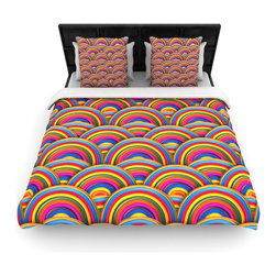 """Kess InHouse - Danny Ivan """"Rainbows"""" Multicolor Cotton Duvet Cover (Queen, 88"""" x 88"""") - Rest in comfort among this artistically inclined cotton blend duvet cover. This duvet cover is as light as a feather! You will be sure to be the envy of all of your guests with this aesthetically pleasing duvet. We highly recommend washing this as many times as you like as this material will not fade or lose comfort. Cotton blended, this duvet cover is not only beautiful and artistic but can be used year round with a duvet insert! Add our cotton shams to make your bed complete and looking stylish and artistic!"""