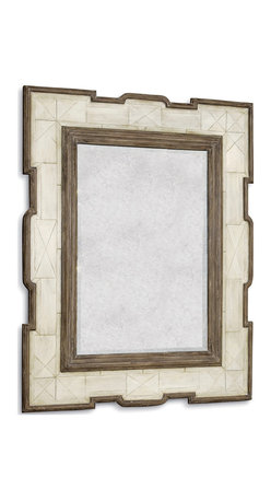 Kathy Kuo Home - La Gare French Rustic Tribal Bone Antique Wood Mirror - Like a piece you picked up during travel overseas, this rectangular mirror brings an exotic style element into your vintage country home.  Unique, inlaid faux bone framing is carved with a modern metropolitan geometric styling, while the distressed finish on the mirror and contrasting dark wood detailing gives it a distinctly aged feel.  Gaze into it and envision your next whirlwind trip.