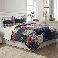 Pem America - Whitfield Blue and Red Two-Piece Twin Quilt Set - - This casual quilt is a traditional patchwork quilt that is updated for current colors and a casual feel  - Set Includes: Twin quilt, 1 standard pillow sham (20x26 inches)  - 100% natural cotton  - Pre-washed for comfort and durability.  - Cleaning Care: Machine wash cold/gentle, do not bleach, tumble dry low. Pem America - QS8796TW-2300