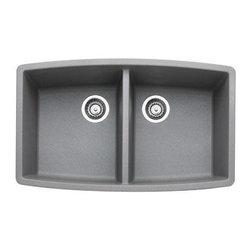 Blanco - Blanco Performa Kitchen Double Bowl Sink, Metallic Gray (440072) - Blanco 440072 Performa Kitchen Double Bowl Sink, Metallic Gray
