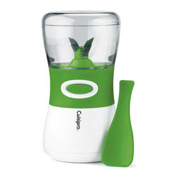 Cuisipro Herb Chopper - The Cuisipro Cordless Herb Chopper allows you to effortlessly enhance your meals by adding delicious fresh herbs.  The sharp  flexible blade reduces brusing of herb leaves while chopping.  This easy to use battery operated chopper is cordless  so it's compact and easy to store.  The Cuisipro Herb Chopper is a safe and easy alternitive to hand chopping fresh herbs.Product Features                                   Safety Lock ��� chopper can only be operated when cup is in the locked position            Clear cup is dishwasher safe - top shelf. Blade unit is hand wash only            Pulse button allows for greater chop control            Uses 6 AA batteries (not included)            Easy to disassemble and clean            Bonus scraper is contoured to efficiently scrape sides of cup            2 year warranty