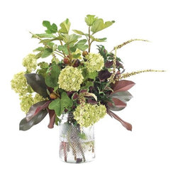 """Silver Nest - Fig and Snowball Centerpiece- 29""""h - Green and Burgundy Fig Branch and Snowball Centerpiece in Glass Pineapple Jar"""