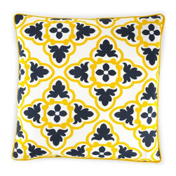 Tile Pillow Cover - Take advantage of all the punchy pillows on store shelves because they are a great way to bring some fun into your space without tying you down to a whole scheme. I love this Tile Pillow Cover; it's bright, unexpected yet still inviting.