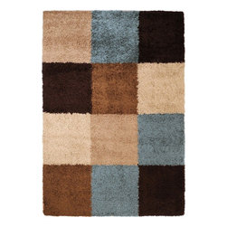 Surya - Surya Concepts Shag Rug X-6735-4171TPC - A modern translation of a classic style, the shag designs of the Concepts Collection are a playful yet elegant addition to any space. Machine made of 100% polypropylene in a color palette of pale blue, rust, deep brown, and ivory, the densely twisted pile is an exciting combination of movement and texture. With the ability to resist the wear and tear of daily life, these ingenious creations will be the centerpiece of your room for years to come.