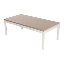 "Hart Concrete Design - Standard Coffee Table in Malibu - The Standard Coffee Table is handmade by Hart Concrete Design in the United States. Each tables base is made of a 1"" X 1"" square Steel tubing powder coated in White, with a 1""  polished concrete top."