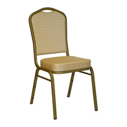 Flash Furniture - Banquet Chair w Stacking Steel Gold Colored F - You don't have to own a banquet hall to appreciate the value of this stunning stackable crown-back dining chair.  It features a heavy-duty frame that's built to last from 16-guage steel, with an elegant painted gold finish.  This great chair can be stacked vertically in groups, making it easy to store them out of the way until you need them.  The stylish diamond-print tone-on-tone fabric is available in your choice of two outstanding and versatile colors. The HERCULES⢠banquet chair frame holds 500 lbs.. Thickly padded 2.5 in. upholstered seat. 16-gauge steel frame. Rocker glides. Crown Back Stack Chair. Gold frame. Easy to move and store. Ships fully assembled. Durable diamondbeige fabric. Seat: 15.5 in. W x 16 in. D. Back: 15.5 in. W x 19 in. H. Overall: 17.25 in. W x 20.25 in. D x 36.5 in. H (49 lbs.)The FD-C01 stack-banquet chair will add elegance and charm to any formal or informal banquet area. Constructed of a 16-gauge steel frame (thicker than 18 gauge) with a BEAUTIFUL gold finish this durable, long lasting stack chair is manufactured by one of the most reputable stack chair manufacturers in the industry. If you are looking for a chair with comfort and style that is easy to move and store look no further. The FD-C01 stack chair features a 2.5 in. thick cushion, double-support bracing, plastic glides and plastic bumper guards to protect your chair from scratching when stacked. This model ships fully assembled.