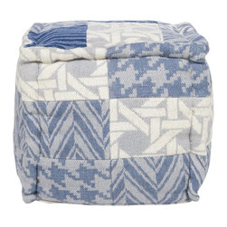 Surya - Surya Cube Pouf X-001-FUOP - With a combination of basket weave, houndstooth and chevron patterns in blue gray tones accented with off white, this square pouf will be the perfect accent piece.