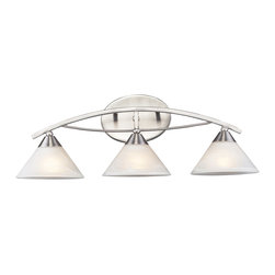 Elk Lighting - Elk Lighting Elysburg Modern / Contemporary Bathroom / Vanity Light X-3/2367 - The Geometric Lines Of This Collection Offer Harmonious Symmetry With A Sophisticated Contemporary Appeal.  A Perfect Complement For Kitchens, Billiard Parlors, Or Any Area That Requires Direct Lighting.  Featured In Satin Nickel With White Marbleized Glass Or Aged Bronze Finish With Tea Stained Brown Swirl Glass.