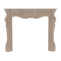 "Pearl Mantel - The Deauville Fireplace Surround, Unfinished, 58"" - Is it time to see your fireplace in a different light? Envision it framed by a highly decorative hardwood surround, that can be painted to reflect all the colors of your imagination. Of course, it comes beautifully finished as well, but the option to light your own creative fire is just a paintbrush away."