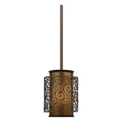 Quoizel - Quoizel Renaissance Copper Mini Pendants - SKU: MC843PRC - This artistic piece is an addition to the Quoizel Naturals collection. The drum shade is made of genuine amber mica, and features an overlay of thin metal swirls, which appears to be floating around the shade. It provides a warm and inviting accent for most any home.