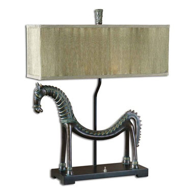Uttermost - Tamil Horse Table Lamp - This creative horse lamp is finished in an olive bronze with a verdigris glaze. The rectangle box shade is pleated silken champagne.