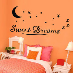 ColorfulHall Co., LTD - Wall Decals for Nursery Sweet Dreams in Moon and Stars - Wall Decals for Nursery Sweet Dreams in Moon and Stars