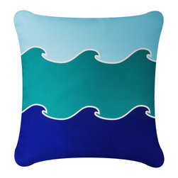 Wabisabi Green - Ocean Wave Eco Pillow, Teal/Ocean Blue, Without Insert - - Natural cotton twill.