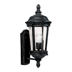 """Maxim - Iron Maxim Dover DC 17"""" High Bronze Outdoor Wall Light - Uniting a classic lantern silhouette with a touch of ornamental detail this traditional outdoor sconce from Maxim Lightings Dover DC collection establishes a unique romantic tone enhanced by seedy glass and a rich bronze finish. Accommodates one 100-watt incandescent bulb. UL-listed for wet locations. Dimmable. Bronze finish. Dover DC Collection outdoor wall fixture. Seedy glass. By Maxim Lighting. Rated for wet locations. Takes one 100 watt incandescent medium base bulb (not included). Fixture is dimmable with a standard dimmer. 17"""" high. 8"""" wide. Extends 9"""" from the wall. Backplate is 10 1/2"""" high 5"""" wide.   Bronze finish.  Dover DC Collection outdoor wall fixture.  Seedy glass.  By Maxim Lighting.  Rated for wet locations.  Takes one 100 watt incandescent medium base bulb (not included).  Fixture is dimmable with a standard dimmer.  17"""" high.  8"""" wide.  Extends 9"""" from the wall.  Backplate is 10 1/2"""" high 5"""" wide."""