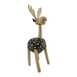Zeckos - Recycled Coconut Shell Standing Deer Night Light Whimsical Accent Lamp - This whimsically hand-crafted deer lamp provides a wonderful accent to your home whether in the bedroom, living room or entryway and is a unique highlight on a sheltered porch perfect to add a fun touch of light! The body is made from a recycled coconut shell with dozens of drilled holes that allow the light to shine through with natural finish wood and rope accents that create this delightful deer. This 19 inch high, 7.5 inch long, 5.5 inch wide (48 X 19 X 14 cm) accent lamp uses one 7 watt night light style bulb (not included), and easily turns on or off via the switch on the 67 inch long cord. It's great as a housewarming gift sure to be enjoyed!