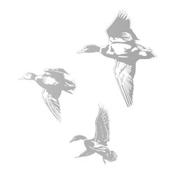 None - Ducks Sudden Shadows Wall Decal - These adhesive vinyl decals for walls include the image of three ducks in flight. The image in grey lets the color through so the image appears as a shadow on you original paint. It is easily removable and can be reused at another time.